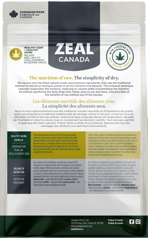 Zeal Air-Dried Beef & Hemp for Dogs